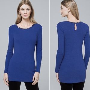 WHBM Necklace Collar Beaded Tunic Sweater Sapphire